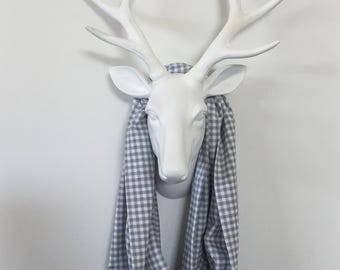 Infinity Scarf - Gray & White Mini Check - Cotton Jersey Blend Knit