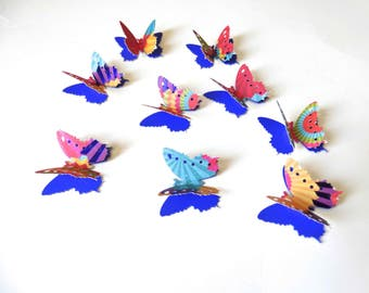 Colorful Butterfly Confetti, 3D Paper Butterflies, Birthday Party Decor, Fiesta Confetti, Multi Colored Butterflies, Latin Theme Event