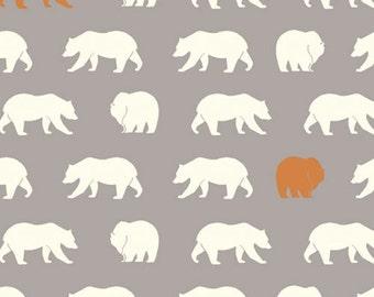 Feather River Bear Hike in Shroom, Jay-Cyn Designs, 100% GOTS-Certified Organic Cotton Poplin, Birch Fabrics, FR-10