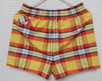 vintage plaid 50s 60s Swim Shorts Penneys Towncraft yellow Mens Med lining short beach summer bathing suit