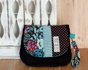 Eco friendly wrislet clutch  small bag evening purse with wrist strap and flap recycled fabric  messenger style polka dots flower teal