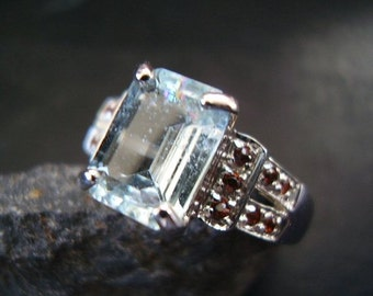 Genuine Octagon Cut Aquamarine & Spessarite Garnet Ring, 925 Sterling Silver Ring, Alternative Unique, March Birthstone Ring, Gifts For Her