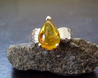 Akasha - Genuine Baltic Amber 1 Carat Solitaire Pear Cabochon Ring Solid 925 Sterling Silver Ring Organic Gemstone, Handmade Gifts For Her