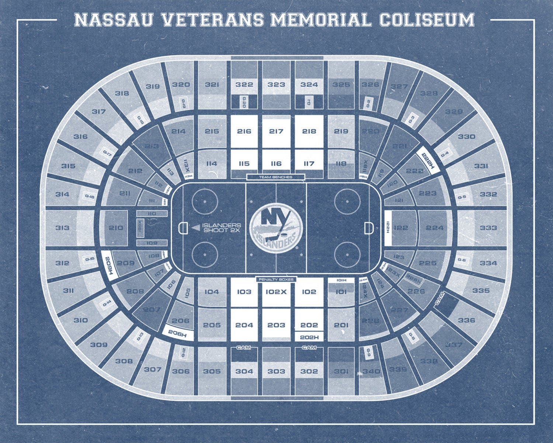 Print of vintage nassau veterans memorial coliseum seating for 12x15 calculator
