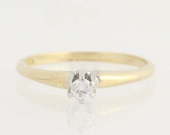 Diamond Solitaire Engagement Ring - 14k Yellow & White Gold Round Cut .10ct Unique Engagement Ring N3035
