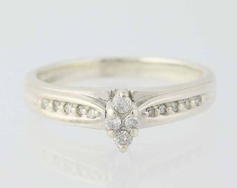 Diamond Engagement Ring - Sterling Silver 925 Size 7.25 Marquise Setting 0.12ctw Unique Engagement Ring Q9244