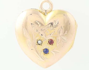 Victorian Heart Locket - 10k Gold Seed Pearl, Sim. Ruby, & Sim. Sapphire Antique N8698
