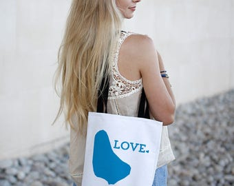 Barbados Tote Bag // Barbados Bridesmaid Gift // Azure Blue // Unique Gift Idea // white canvas tote with black inside and handle