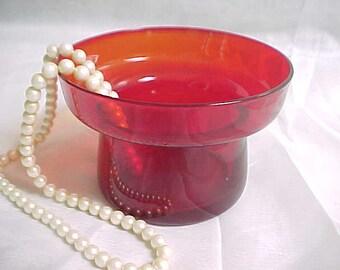 Vintage Morgantown Ruby Nova #9920 Flower Lite Vase, Mid Century Home Decor Red Glass Flower Bowl, Old Red Blown Glassware, 1950s Decoration