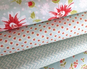 Coney Island Fabric Bundle of 4 in Ocean Blue from Fig Tree Quilts of Moda Fabric