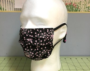 Washable Medical Face Masks Adult & Child Black and Pink Cherry Blossom print