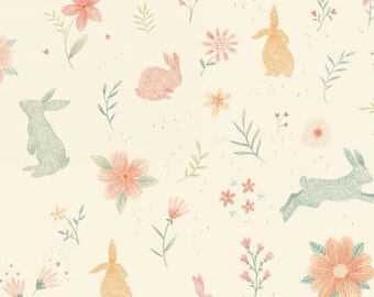 Fabric by the Yard-Bunny Tales- Bunnies in Pink- by Lucie Cravatto for Studio E