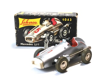 Schuco Mercedes Wind Up Micro Racer With Box, Paperwork, & Key