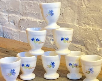 VintageHeist Set of Eight Vintage Ceramic Eggcups Egg Holders Made in France Cream with Blue Flowers at VintageHeist