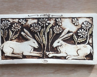Two rabbits porcelain tile