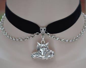 FOX Head n TAIL Charm Pendant With Chain BLACK Velvet 16mm Ribbon Choker Necklace - kg... or choose another colour velvet please :)