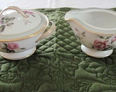 RESERVED For Harold Wilson: Vintage Noritake Porcelain China Covered Sugar Bowl & Creamer Priscilla Pattern Circa 1950's
