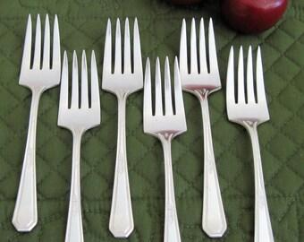 6 Antique Vintage Wm Rogers Silverplate Salad Cake Dessert Forks Mayfair Pattern Circa 1920's