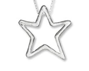 Large Wish Upon A STAR Sterling Silver Pendant Necklace, Star Necklace, Star Pendant, Sterling Silver