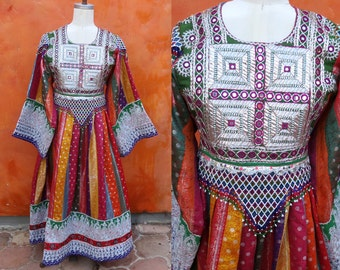 Vintage Kuchi Nomad Ceremonial Beaded Mirrored Maxi Dress. Gypsy Tribal Boho Ethnic Afghan Turkish. Embroidered. Tribal Bellydance