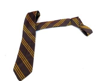 Vintage 1950s 1960s Mod Skinny SILK Neck Tie - Brown Gold Diagonal Stripes. Striped Tie Mid century modern Retro necktie menswear