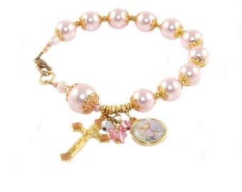 Holy Communion Bracelet, Pink Swarovski® Pearl Catholic Rosary Bracelet, RCIA Gift