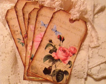 Shabby Old Roses Hang Tags Labels Gift Tags with Cream Hand Crinkled Seam Binding Set of 6
