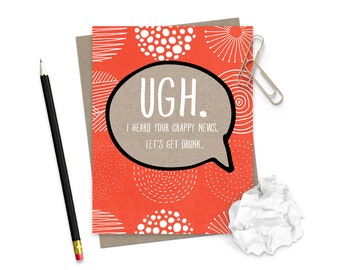 Get Well Soon Card / Thinking of You Encouragement Card / Cancer  Card / Friend Card / Funny Encouragement Greeting Card / Sympathy Hope