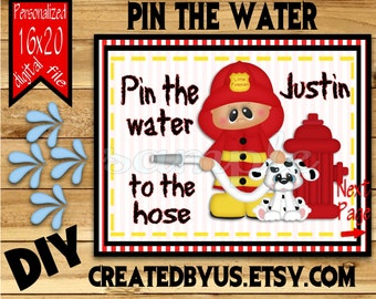 Little Fireman Birthday party Fire fighter Birthday Game idea Pin the Tail DIY 16x20  Firefighter Printable game poster Download Custom