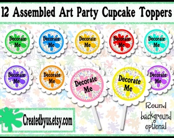 Art party Cupcake toppers Paint Splatter Cupcake Toppers  Paint party birthday Decorate me Art Party Birthday picks cake topper 12 assembled