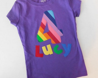 Pink or purple Bubble gum yellow green blue orange rainbow colors personalized birthday number name applique shirt girl toddler tween 12m 16