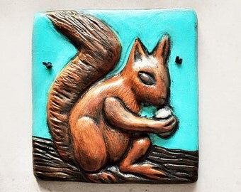 Carved Squirrel Bas Relief Animal Art Tile, Plaque, Wall Hanging, Brown and turquoise, Rustic Home/Cottage Decor, Fathers Day Gift, Under 50