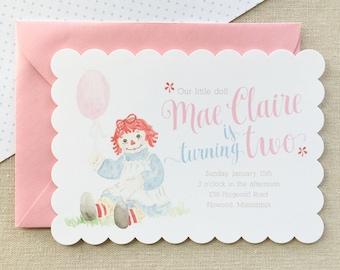 Watercolor Raggedy Ann Invitation