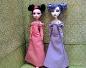 Held for Tasha- Local Free Pickup! OOAK Shiny! Pink version of  Lady Amalthea's Lavender Dress - Monster High Doll Clothes -  2017-006