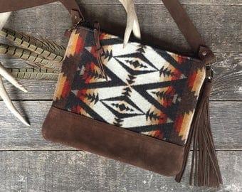 Crossbody Messenger Purse // Southwestern Rust Pendleton Wool Brown Leather // Rosebud Originals