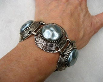 Vintage Selro Bracelet Blue Baroque Pearl Antiqued Silver Tone Panels