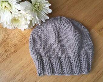 Newborn Pale Gray Heather Baby Beanie, Hospital Hat, Photo Prop, Infant Hat