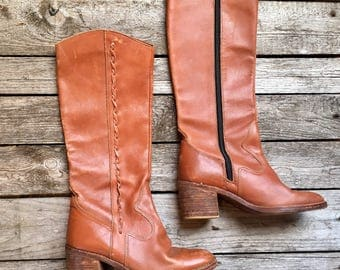8 M | VTG 1970's Women's Tall Campus Leather Boots