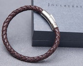 Brown Braided Mens Leather Bracelet
