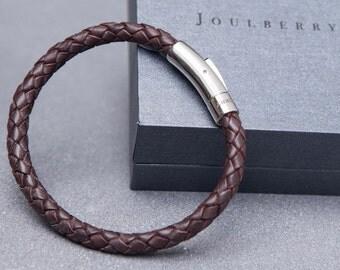 Brown Braided Mens Leather Bracelet