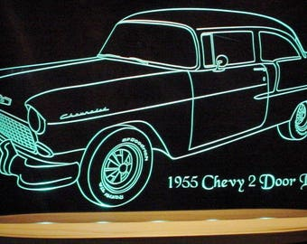 "1955 Chevy Belair Bel Air 2 Door Acrylic Lighted Edge Lit LED Sign Awesome 21"" VVD1 Full Size Made in the USA"