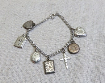 Sterling Locket Charm  Bracelet, Puffy Victorian Charms, 7 Inch Long