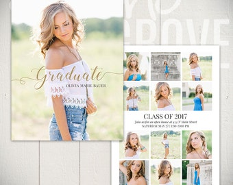 Graduation Announcement Template: Ambition Card A - 5x7 Senior Card Template