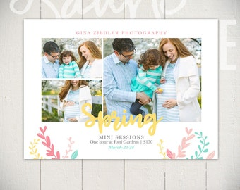 Spring Mini Session Marketing Board - Easter Card Template - Hello Spring A - INSTANT DOWNLOAD