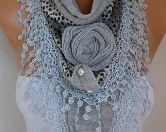 ON SALE --- Gray Knitted Floral Scarf, Shawl, Cowl, Lace Bridesmaid Gift Bridal Accessories Gift Ideas For Her Women Fashion Accessories Tea