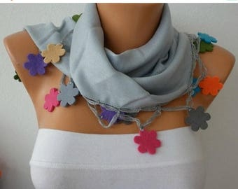 ON SALE --- Light Gray Pashmina Scarf,Fall Winter Necklace Felt Flower Cowl Gift Ideas For Her Women Fashion Accessories,Christmas Gift