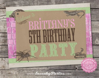 Girls Reptile Party Sign - INSTANT DOWNLOAD - Editable & Printable Birthday Decorations, Decor, Lizard, Spider, Snake Poster Sassaby Parties