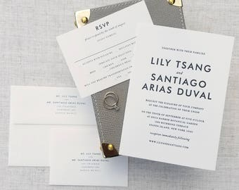Lily & Santiago Wedding Invitations, Classic, Clean, Preppy, Modern