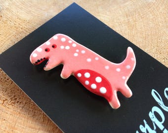 Dinosaur Brooch/pin/button/badge.Ceramic/porcelain .T-Rex.Handmade.Made in Wales,Uk