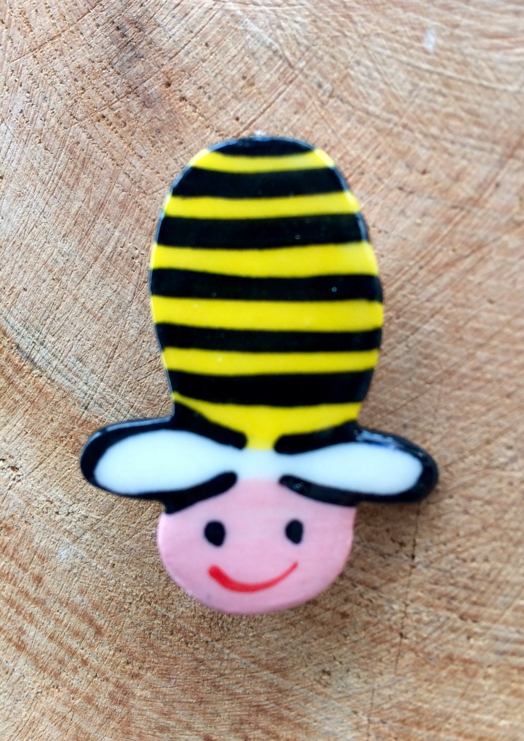 Cute Bumble Bee Brooch Pin Button BadgeCeramic Porcelain Kawaii